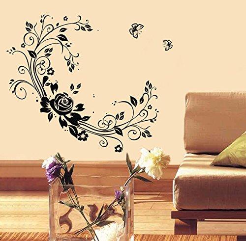 ポップインテリアPT-0141-Va花つる美しい壁用ステッカーキッズルームの壁紙壁画ステッカー保育園の装飾   B016ONDI00