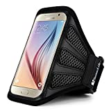 Sumaclife Compact Workout Sport Exercise Nylon Hybrid Sweat Resistant Armband for Samsung Galaxy S8 / Amp Prime 2 / J3 Emerge / A3 2017 (Black/Black)