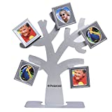 Polaroid Family Tree Frame – Tree with Stand & Five Magnetic Mini-Picture Frames (Silver) for Zink 2x3 Photo Paper Pojects (Snap, Zip, Z2300)