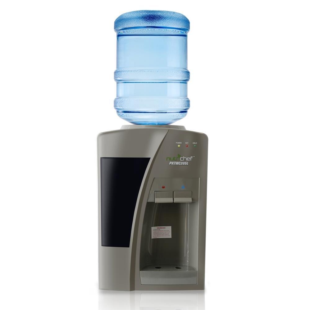 Nutrichef Countertop Water Cooler Dispenser - Hot & Cold Water, Holds 3 or 5 Gallon Bottles - PKTW20SL PKTWC20SL