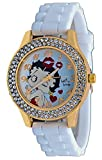 Betty Boop #BB-W074 Women's Blowing Kisses Gold Tone White Silicone Band Crystal Watch