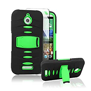 HTC Desire 510 Case, Starshop HTC Desire 510 Premium Durable Rugged Shell Hybrid Protective Phone Case Cover with Built in Kickstand and Build in Screen Protector Black/Green