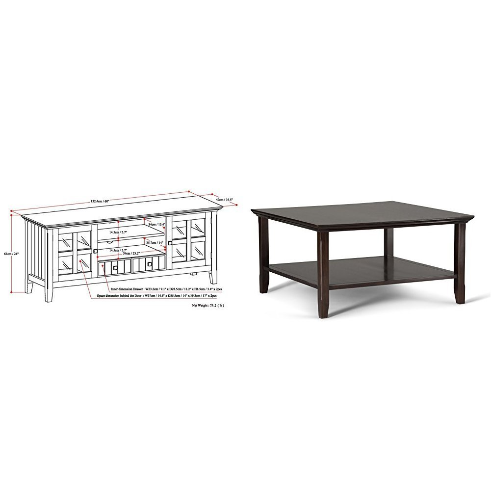 Simpli Home Acadian TV Media Stand for TVs up to 66'', Rich Tobacco Brown + Simpli Home Acadian Square Coffee Table, Tobacco Brown :Bundle
