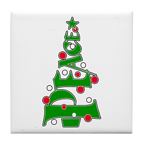 Tile Coaster (Set 4) Peace Christmas Tree Ornaments