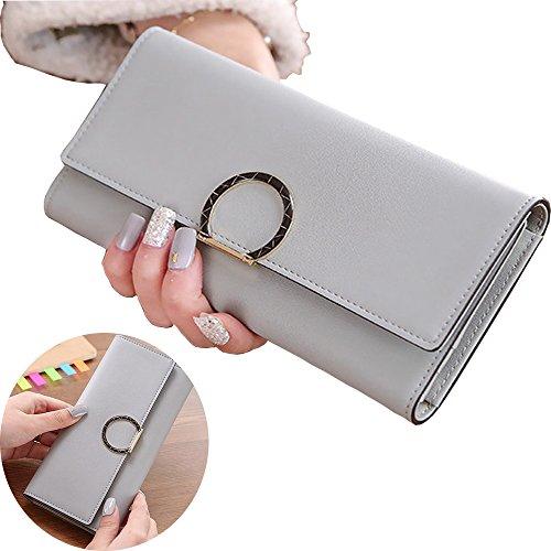 Women Leather Long Wallet (Gray) - 4