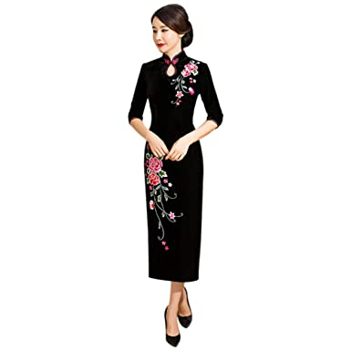 02ec8b0b99134 Amazon.com: Xinvision Women's Floral Embroidery Qipao Dress Velvet ...