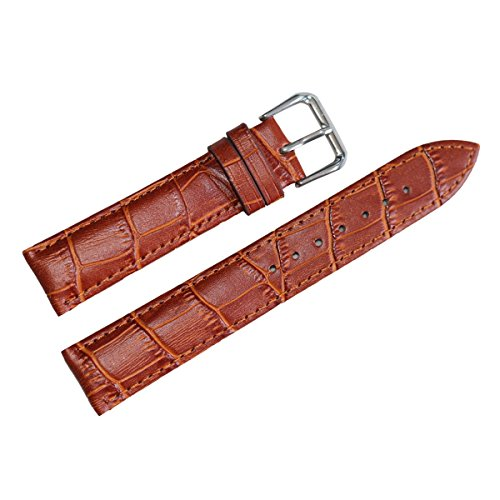 Women's 16mm Light Brown Tan Genuine Leather Watch Band Replacement Standard 7.48inch Length
