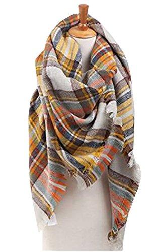 - Flesser Blanket Scarf Plaid Blanket Scarf Women Checked Shawl Long Scarves Warm Tartan(L110)