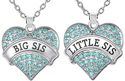 Girls Teens Big Sis & Lil Sis Heart Necklace Set, 2 Sister Necklaces, Big & Little Sisters Best Friends BFF Jewelry Gifts, Stocking Stuffers for Girls (Aqua Blue)