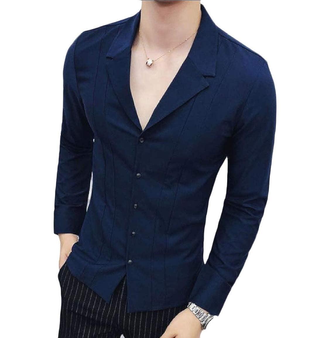 Vska Men Vogue Long Sleeve Solid Slim Fit Autumn Notch Lapel Shirt