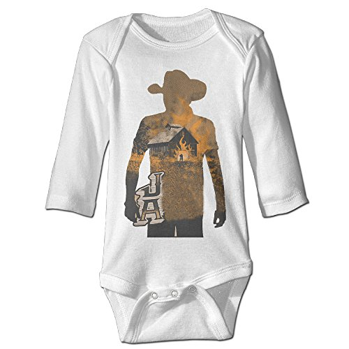 [Raymond JA Country Music Long Sleeve Bodysuit Outfits White 12 Months] (Forrest Gump Kid Costume)