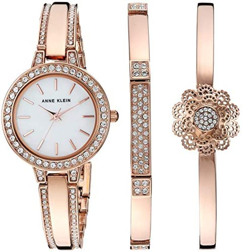 Anne Klein Women's AK/3355 Swarovski Crystal Accented Watch and Bangle Set