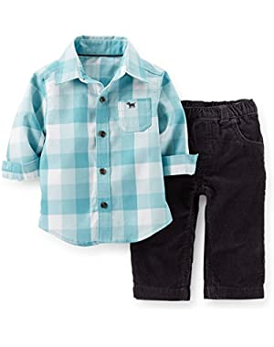 Boy's 2 Pc Flannel Top & Corduroy Pant Set (3 Months)