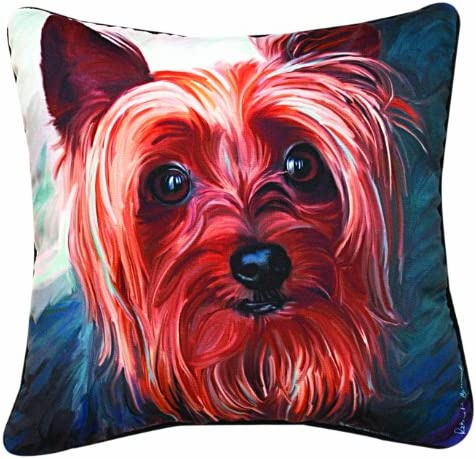 Manual Yorkie Style Paws and Whiskers Decorative Square Pillow, 18-Inch