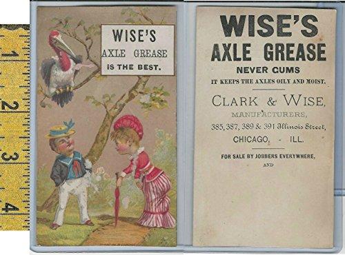 Victorian Card, 1890's, Clark & Wise Axle Grease, Chicago, Man, Woman, Bird