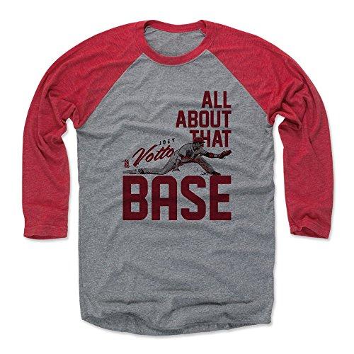 500 LEVEL Joey Votto Baseball Tee Shirt Large Red/Heather Gray - Cincinnati Baseball Raglan Shirt - Joey Votto Base R
