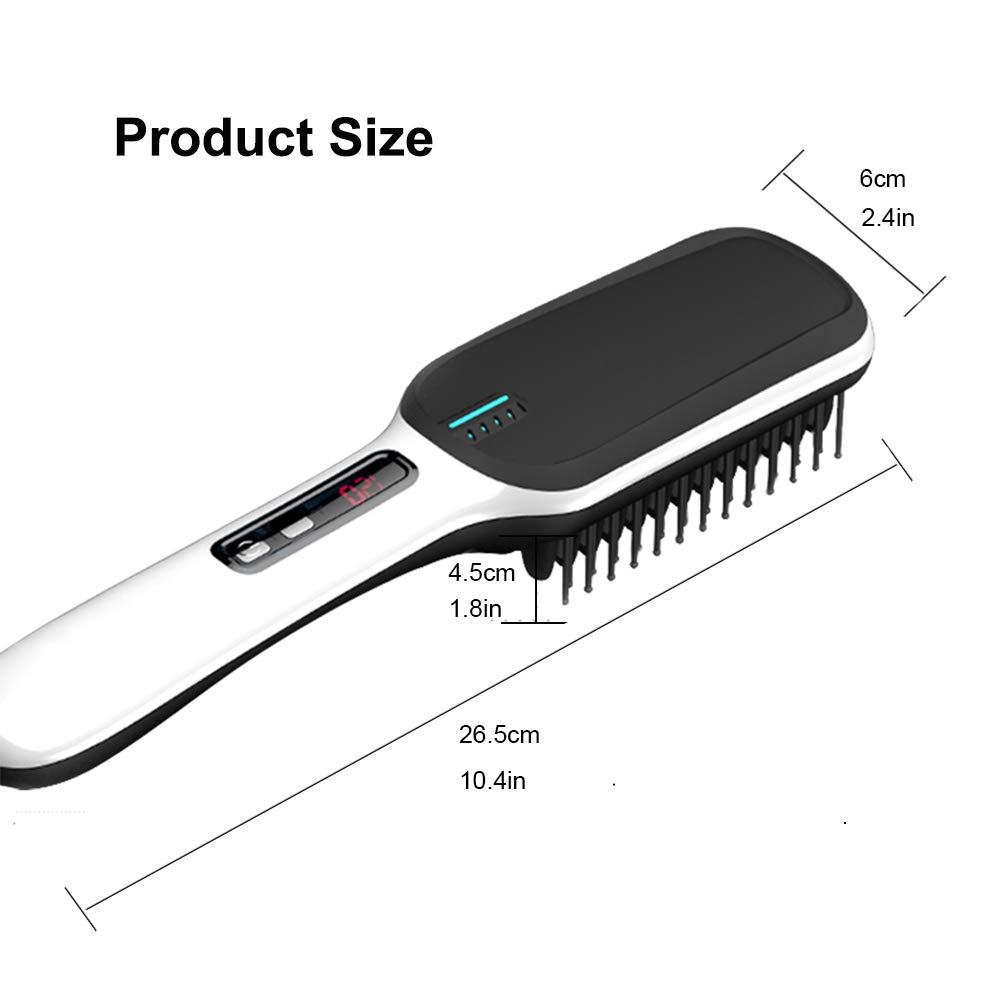 Beard Straightener Hair Straightener Brush -VIPpro Hair Straightening Comb,Auto Temperature Lock,Negative ions Anti,Professional Hair Straightening Brush for Women and Men, For Home and Travel