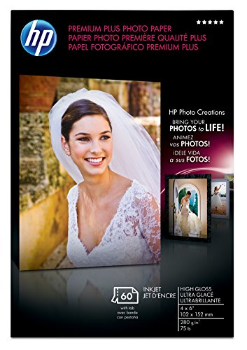 HP Premium Plus Photo Paper, High Gloss (60 Sheets, 4 x 6 Inches with Tab) by HP