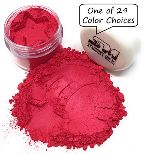Stardust Micas Pigment Powder Cosmetic Grade Colorant for Makeup, Soap Making, Epoxy Resin, DIY Crafting Projects, Bright True Colors Stable Mica Batch Consistency Red Strawberry
