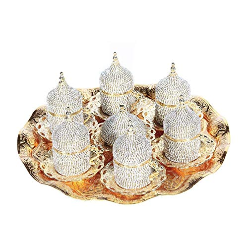 - 27 Pc Handmade Turkish Arabic Coffee Cup Saucer Swarovski Crystal Set (GOLD)