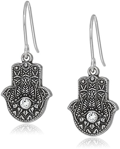 Alex and Ani Womens Hand of Fatima Hook Drop Earrings, Rafaelian Silver, - Fatima Earrings