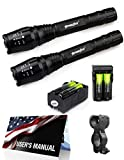 2X Police Tactical 5000 Lumens Led Flashlight 18650 Cree T6 XML Torch + Battery + Charger + 1xBicycle Flashlight Mount + User Manual