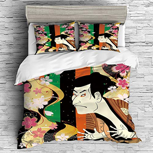 SCOCICI King Size Duvet Cover Set/Kabuki Mask Decoration,Colorful Vertical Stripes Fresh Sakura Blooms and Actor Composition,Multicolor / 3 Piece Bedding Set