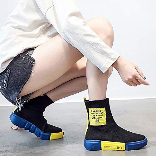 Elastico giallo Moda Fly Lucdespo Casual Scarpe Scarpe Splicing Ladies moda e e sportive Lettere Scarpe Calzini Shoes traspirante Nero pigri qtAwH61tW