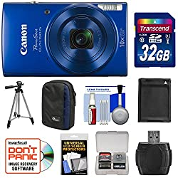 Kit includes:♦ 1) Canon PowerShot Elph 190 IS Wi-Fi Digital Camera (Blue)♦ 2) Transcend 32GB SecureDigital (SDHC) 300x UHS-1 Class 10 Memory Card♦ 3) Spare NB-11L/NB-11LH Battery for Canon♦ 4) Lowepro Newport 10 Digital Camera Case (Black/Blue)♦ 5) P...