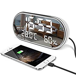 Digital Alarm Clock, Portable Mirror HD LED Display with Time, Humidity, Temperature, Display Function, 3 Brightness Adjustment, Dual USB Port Charging, Suitable for Bedroom, Office, Travel