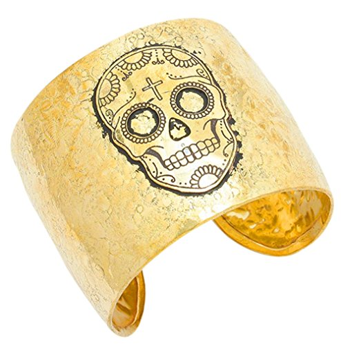 80's Costume Ideas Madonna (Gold Tone Textured Metal Sugar Skull Day of the Dead Inspired Cuff Bracelet Halloween Jewelry)