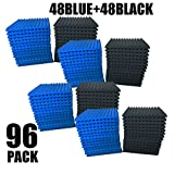 96 Pack BLUE/BLACK Acoustic Foam Panel Wedge Studio Soundproofing Wall Tiles 12'' X 12'' X 1''
