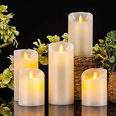 Pandaing Flameless Candles Battery Operated LED Pillar Real Wax Flickering Electric Candle Gift Set with Remote Control Cycling 24 Hours Timer