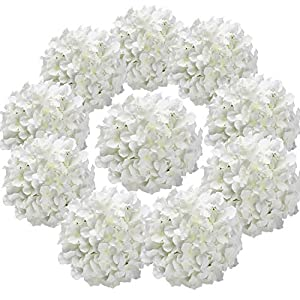 Flojery Silk Hydrangea Heads Artificial Flowers Heads for Home Wedding Decor,Pack of 10 (White) 114