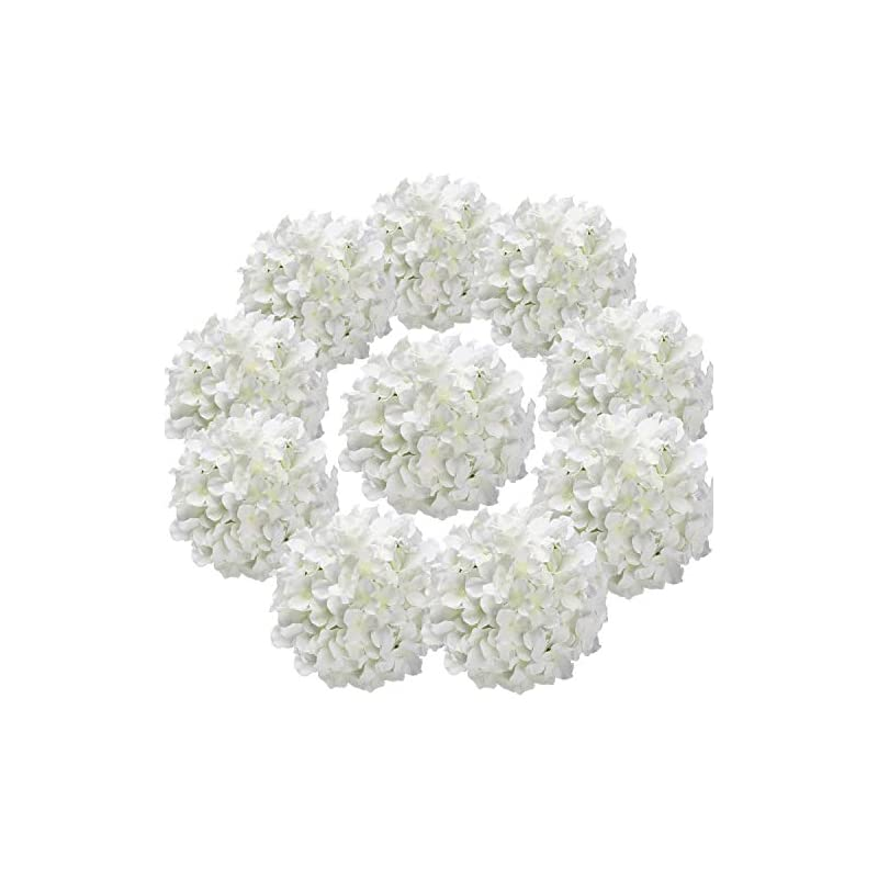 silk flower arrangements flojery silk hydrangea heads artificial flowers heads with stems for home wedding decor,pack of 10 (white)