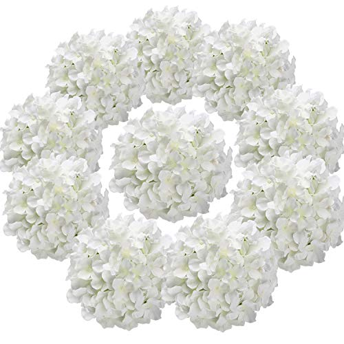 Flojery Silk Hydrangea Heads Artificial Flowers Heads for Home Wedding Decor,Pack of 10 (White) (Hydrangea Flowers Faux)