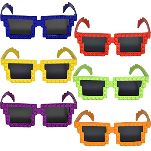 12 Pack Colorful Building Block Brick Glasses for Classroom Carnival Birthday Theme Party Favor Supplies Decorations Fun for Kids Teens Girls Boys and Children + Bonus Gift Boutique Balloon