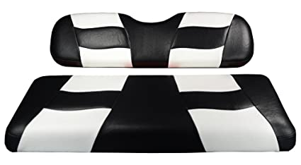 Remarkable Madjax Riptide Black White Two Tone Rear Seat Covers For Most Golf Carts Evergreenethics Interior Chair Design Evergreenethicsorg