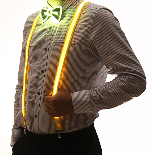 2 Pcs/Set, Good Quality Light Up LED Suspenders And Bow Tie,Perfect For Music Festival Halloween Costume Party (Yellow)]()