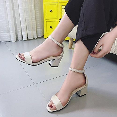 À Heeled SHOESHAOGE Dew Les Sandales Rome Femmes High Toe D'Attaches EU36 Avec Chaussures L'Aide dqwTwH