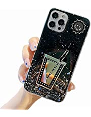 Miagon Glitter Cover for Samsung Galaxy S9 Plus,Soft Slim Silicone Protective Cute Clear Sparkly Bling Star Bumper Case for Girls Women,Cup Black
