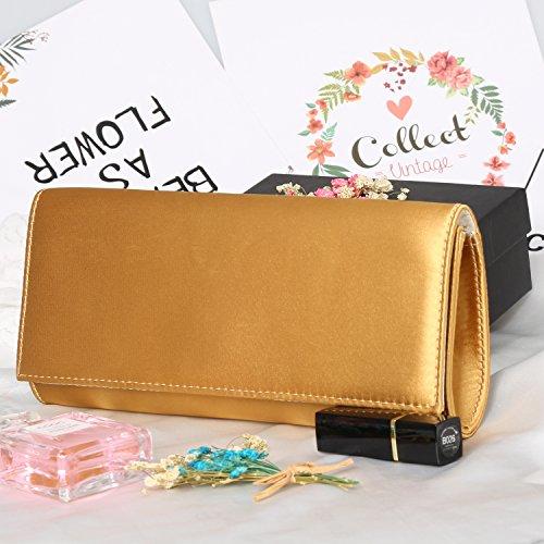 Women Clutch Fabrics Evening Hook Purse Handbags Apricot Silk Envelope Evening Magnet Bag PU CqSwgaa