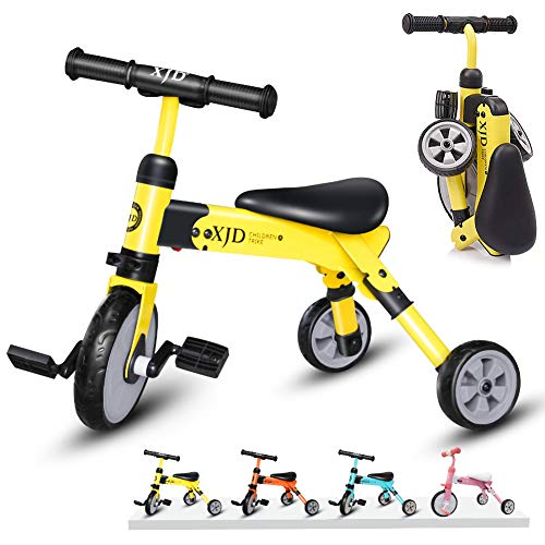 2 in 1 Kids Glide Tricycles Toddler Tricycle Baby Balance Bike Trike for 2 Years Old and Up Boys Girls Gift Kids Bike Trike Kids Tricycle 2-4 Years Old Toddler Bike Trike Kids Balance Bike (Yellow) -