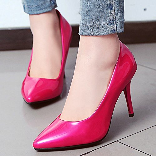 YE Damen Spitze High Heels Stiletto Lackleder Pumps Party Elegant Schuhe Rose