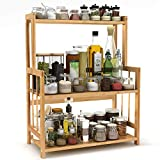 3-Tier Standing Spice Rack LITTLE TREE Kitchen Bathroom Countertop Storage Organizer, Bamboo Spice Bottle Jars Rack Holder with Adjustable Shelf, Bamboo