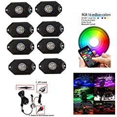 Please check video on YouTuBe:https://youtu.be/FOD-081Tgxg Specification8pcs PODS as one set 9W 2 Inch RGBW Led Rock Light with Blue tooth APP and Switch Control Emitting Color:RGBW Color Size:2 inch Chips:CREE Leds:3pcs*3w Wiring Harness:3 ...