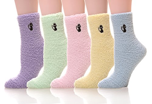 5 pairs Women's Super Soft Cozy Fuzzy Slipper Socks Microfiber Winter Warm Crew Home Socks -