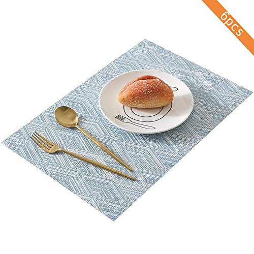 Amidaky Placemat Rectangular Woven Table Mats Set of 6 Heat Resistant Anti-Skid Washable Kitchen Dining Placemats (Blue)