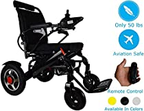 2019 Fold & Travel Lightweight Motorized Electric Power Wheelchair Scooter, Aviation Travel Safe Electric Wheelchair Heavy Duty Power Wheelchair with Wireless Remote Control Only 55 Lbs (Black)