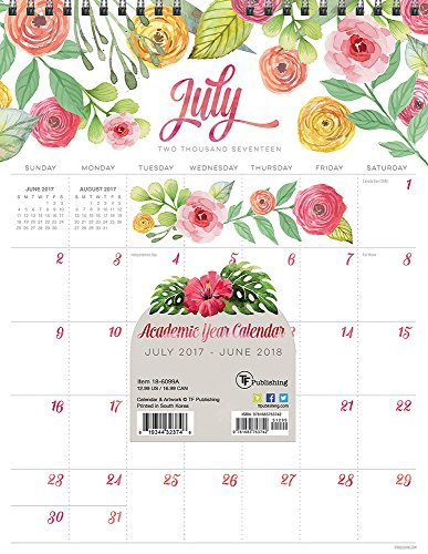 2018 Academic Year Flowers Monthly Wall Calendar PDF